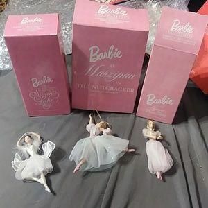 Set Of 3 Barbie Porcelain Ornaments